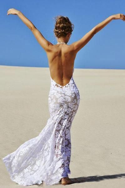 Beach Backless Sexy Mermaid Lace White Open Back Halter V-Neck Summer Wedding Dress PM698 #backlessweddingdress