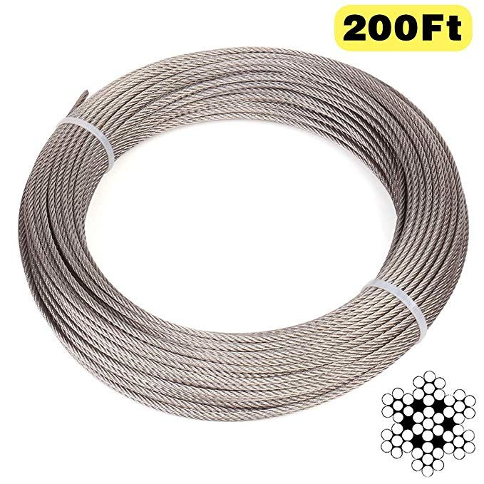 Blika 200 Feet 1 8 Inch Stainless Aircraft Steel Wire Rope Cable For Railing Decking Diy Balustrade 7x7 Construction T316 Ma Cable Railing Railing Stainless