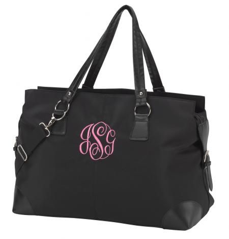 "Black Microfiber Weekender Bag for only $32.95! Personalize yours at www.sassystitchboutique.com. Use Coupon Code ""PINTEREST1"" for 10% off your order!"