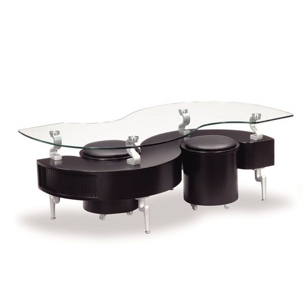 Global Furniture - Glass Coffee Table in Black with Black Stools - T288BC