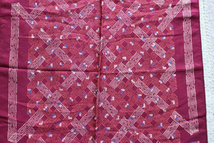 vintage pocket square hankie top pocket mod 70 s dandy red print beige gentlemen