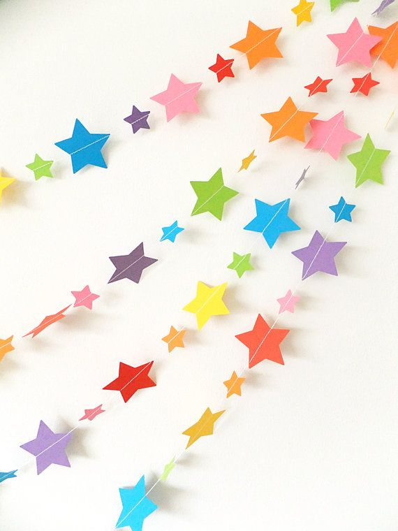 Paper Garland - Rainbow Stars - 20ft Length