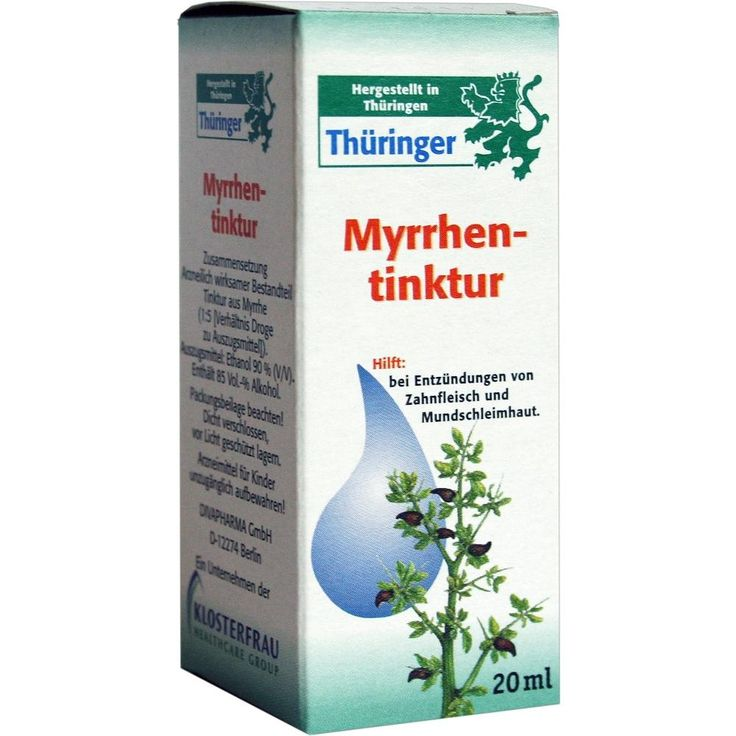 THUERINGER Myrrhentinktur:   Packungsinhalt: 20 ml Tinktur PZN: 04018557 Hersteller: CHEPLAPHARM Arzneimittel GmbH Preis: 2,78 EUR inkl.…