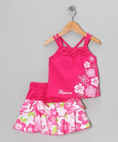 Take a look at this Fuchsia Flower Tank & Skirt - Infant, Toddler & Girls by Littoe Potatoes on #zulily today!