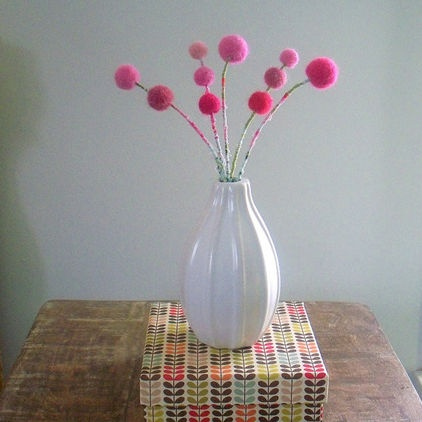 Pink Flower Bouquet, Wool Felt Pom Poms, Berry