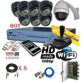 Sistema profesional de 8 canales en tiempo real con camara PTZ incluida y la mas alta tecnologia de seguridad en el mercado. Este equipo cuenta con HDMI, Wi-Fi, HD y mas...