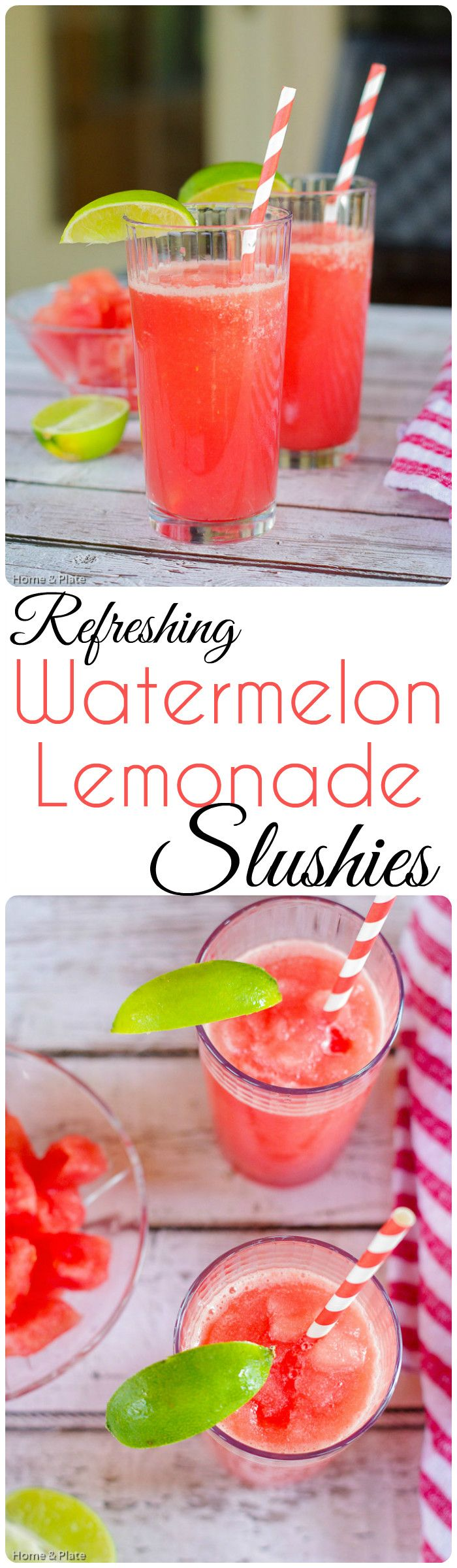 Refreshing Watermelon Lemonade Slushies   Home & Plate   www.homeandplate.com   Watermelon and lemonade are two great ways to stay cool during the dog days of summer.