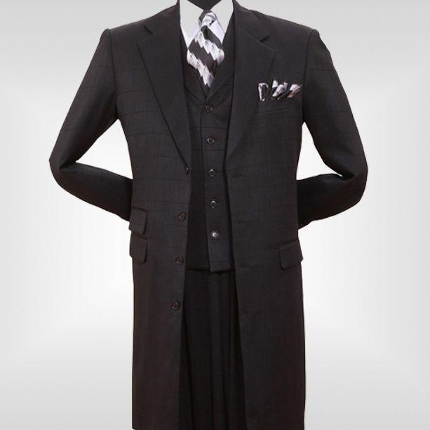 Men's Long Coat with vest & pants Black by Milano Moda 906V #MilanoModa #FourButton  $119, Ebay