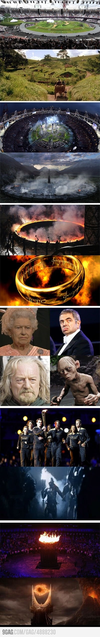 "Olympics Opening Ceremony = Lord of the Rings...OMG I'm glad I'm not the only one who thought ""One Ring to rule them all, One Ring to find them, One Ring to bring them in the darkness and bind them..."""