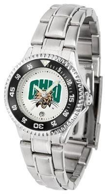 Ohio Bobcats Ladies Stainless Steel Watch by SunTime. $76.95. Links Make Watch Adjustable. Women. Stainless Steel. Officially Licensed Ohio University OU Bobcats Ladies Stainless Steel Watch. Rotating Bezel. Ohio Bobcats Ladies Stainless Steel Watch. This Ohio metal wrist watch works for dress or casual apparel. Functional rotating bezel is color-coordinated to compliment your favorite Bobcats team logo. The Competitor Steel utilizes an attractive and secure stainless st...
