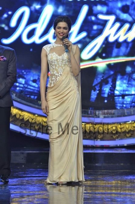 Deepika Padukone in a Sonaakshi Raj http://sonaakshiraaj.in/ Couture Saree Gown on the sets of Indian Idol Junior
