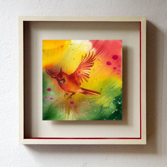 """Sun Dance"" from the series ""In the Garden of Joy""sun dance joy red flying bird cardinal meadow colorful flowers"