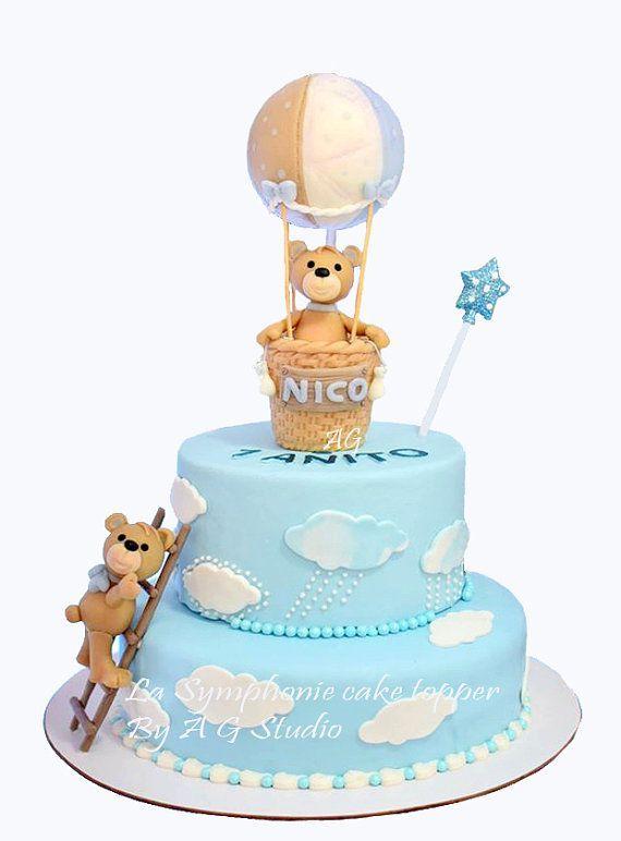 Hot Air Balloon Baby Bear Cake Topper First Birthday Topper Etsy In 2021 Bear Baby Shower Cake Baby Shower Cakes Baby Shower Cakes Girl