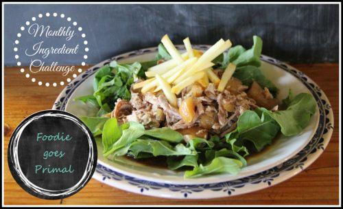 Monthly Ingredient Challenge: Apples {Slow Cooked Pork & Apple Salad and Apple Pie Ice Cream} - Foodie goes Primal