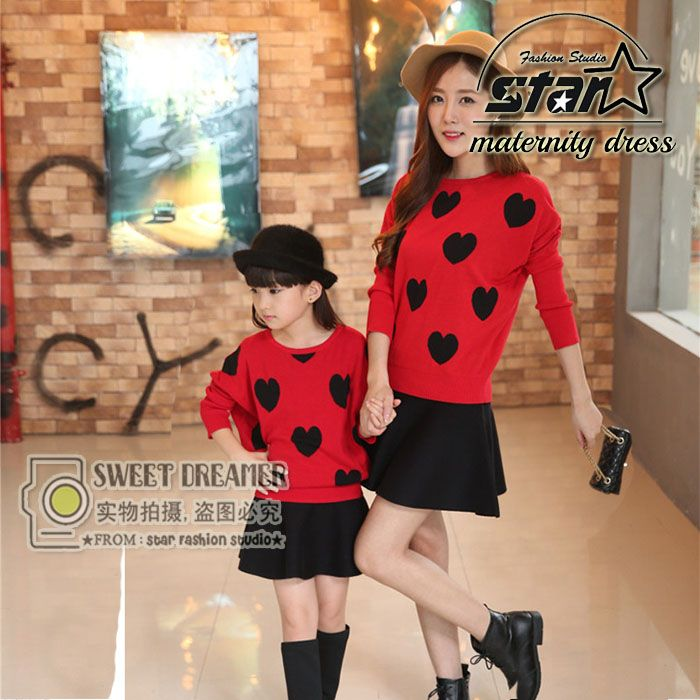 Mommy & Daughter Love Heart Sweater+Short Skirts Sets Family Matching Outfits Fashion Autumn Winter Clothes Set