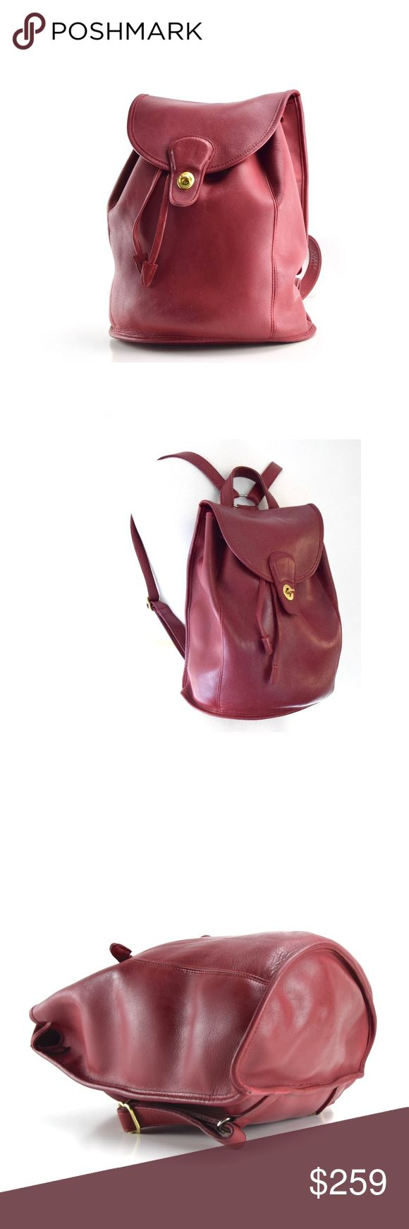 Vintage Coach Backpack Daypack Rucksack Burgundy Condition:  Very Good  Color: Burgundy Red Measurements Height: 13 inches Width: 10 inches (base) Depth: 6 inches Coach Bags Backpacks