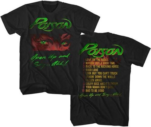 Poison Rock Band T-shirt - Poison Open Up and Say...Ahh Album Cover Artwork with Song Titles. Men's Black Vintage Shirt