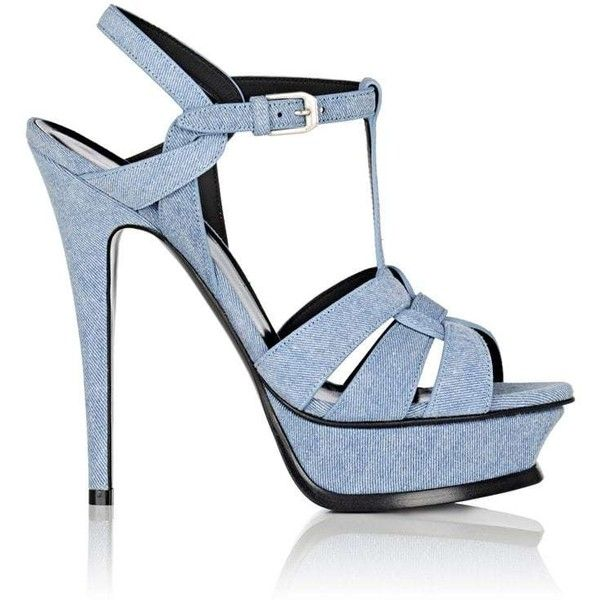 Saint Laurent Women's Tribute Denim Platform Sandals (£765) ❤ liked on Polyvore featuring shoes, sandals, blue, t-strap shoes, platform sandals, blue platform sandals, strappy platform sandals and strappy sandals