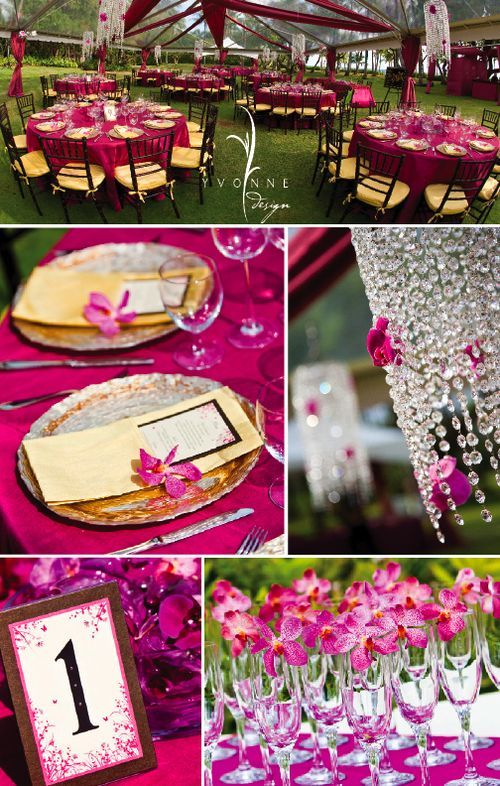 Fuchsia Wedding with Crystal's thrown in...pretty!
