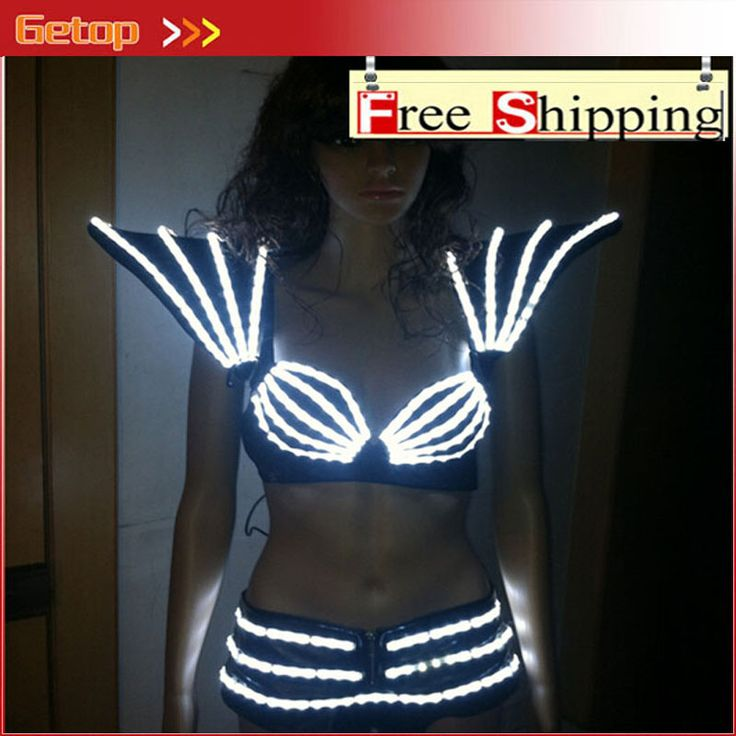 ZX Women Clothes Flashing Glowing LED Costumes LED Clothing Light Suits LED Robot LED Lights Costumes LED Suit Free Shipping #Affiliate
