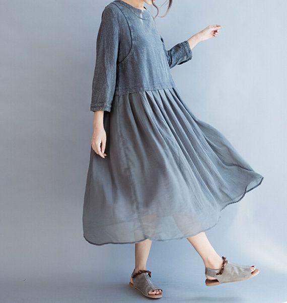 Gray / fuchsia Loose Fitting Long Maxi Dress by MaLieb on Etsy