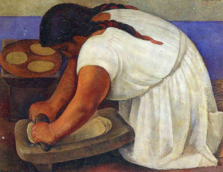 Woman Grinding Maize - Diego Rivera - 1924