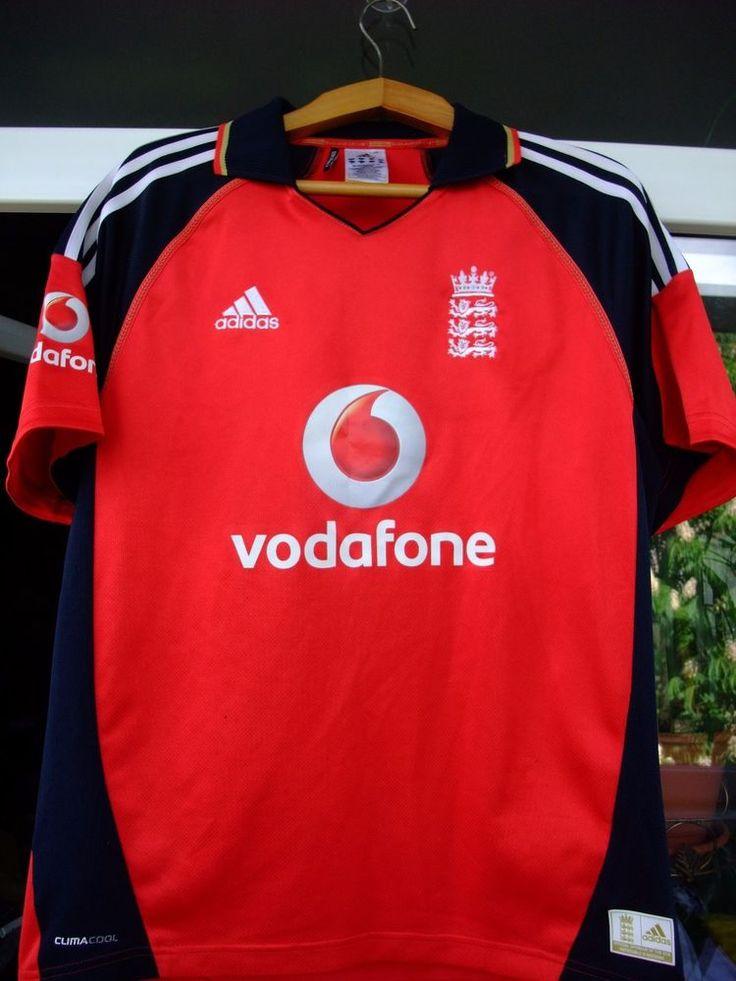 England Cricket Shirt Jersey Adidas Vodafone 3 lions Red Adult Medium TRIKOT #Adidas