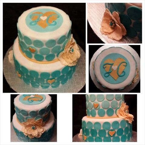 Anna's cake creations!  polka-dot teal ombre bridal shower cake with gold fondant flowers!