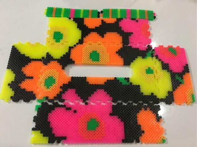 Marimekko-style tissue box cover perler beads by k-chippy