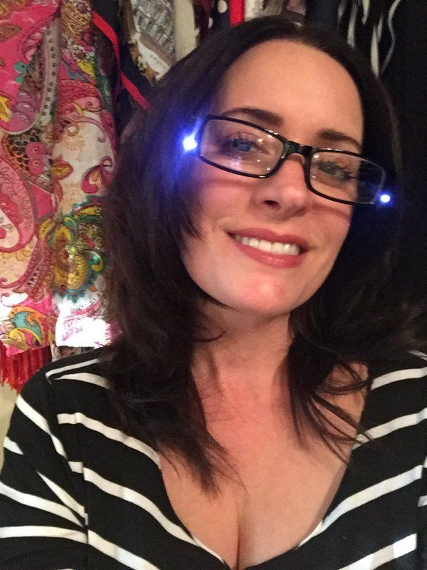 """These are my sewing glasses!! And I don't know how to do any selfie filters."" - Paget Brewster's twitter 