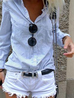 pin stripes + white cut offs - double denim