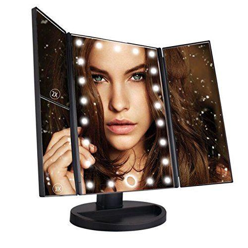 Faltbarer Kosmetikspiegel Schminkspiegel mit 21-LEDs Beleuchtung, Kosemtik & Beauty (Amazon de)
