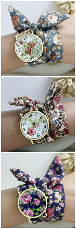 Rose Flower Fashion Long Fabric Band Watch