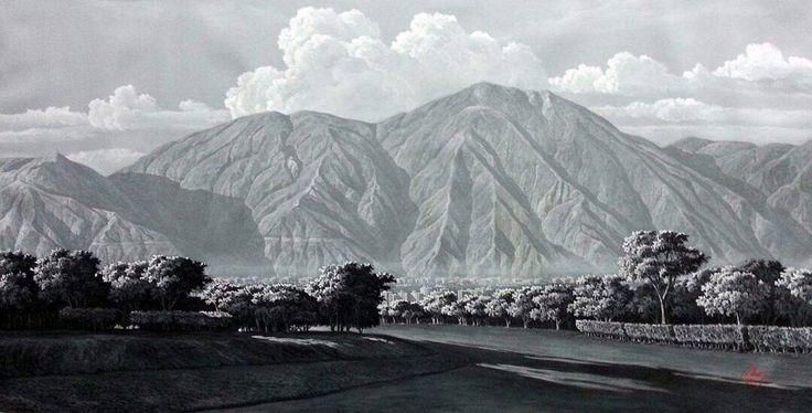 """""""Ávila Blanco y Negro"""" desde los Campos de Golf ⛳️ de Valle Arriba #original #venezuela #avila #alexisrivas #alexisrivaspintor"""