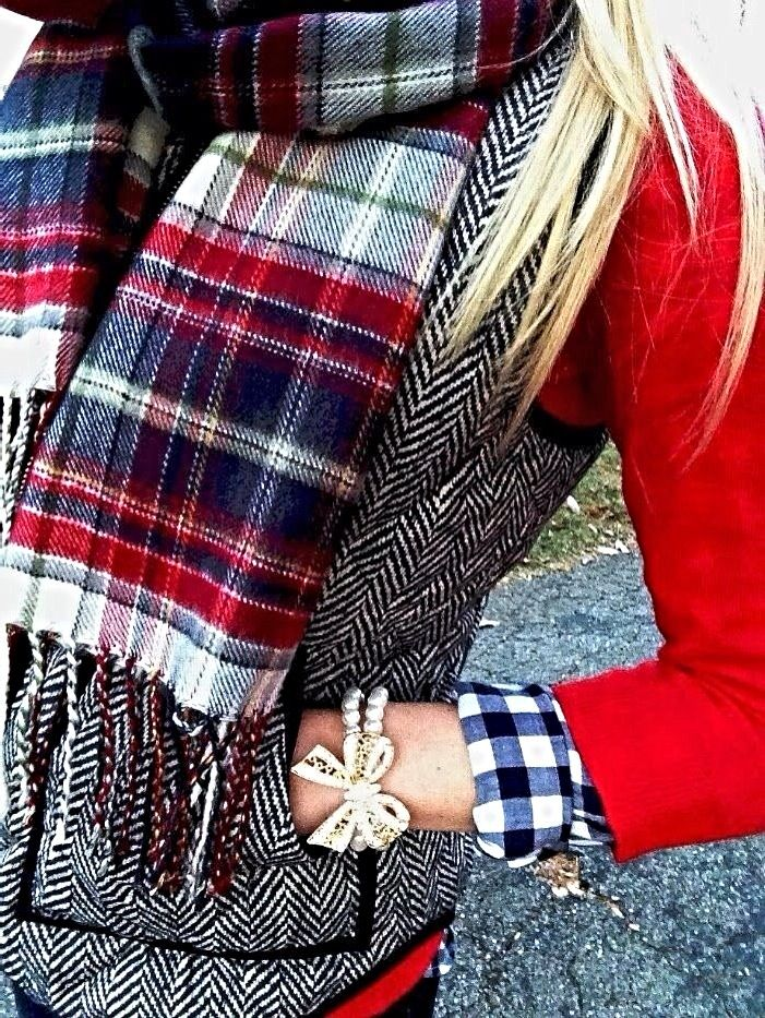 handbag picture Plaid scarf  red blazer  black white herringbow vest  blue white gingham shirt and pearl bow bracelet  Preppy winter style