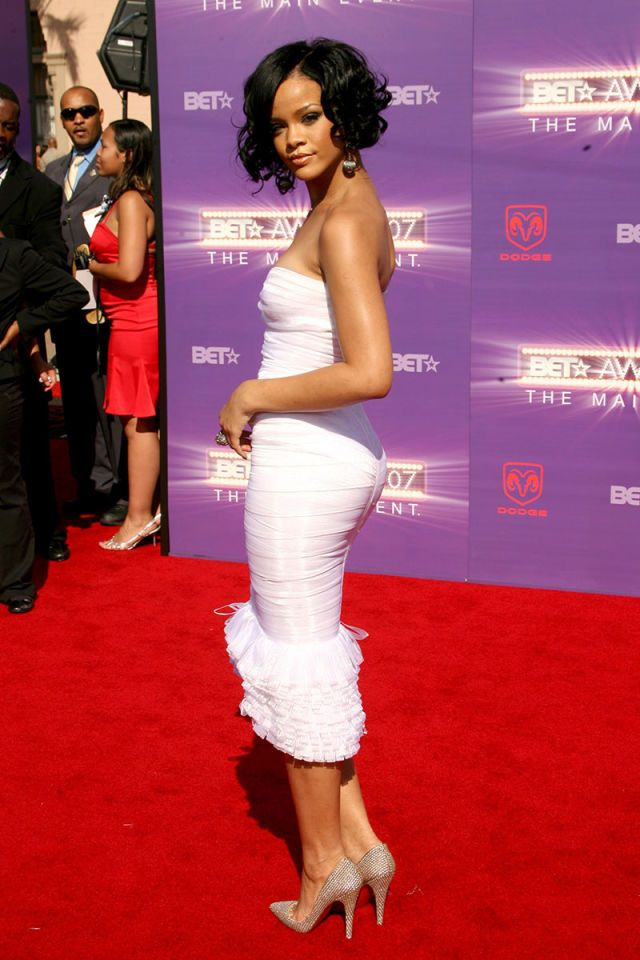 In Herve Leger at the BET Awards. See all of Rihanna's best looks.