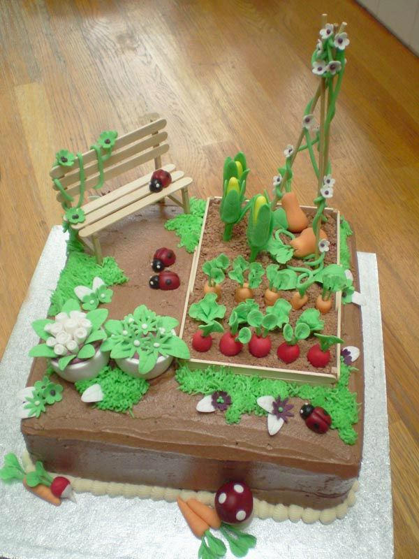 Allotment garden vegetable ladybird cake for a 40th birthday. Pin from shinyrubbiepeople.co.uk