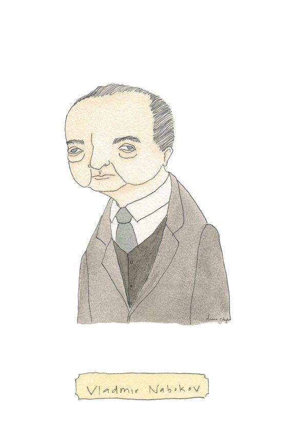 Vladmir Nabokov   Literary Portrait Print by TerrificFriends