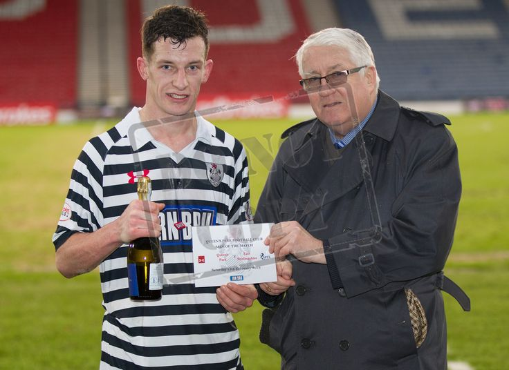 Queen's Park's David Galt gets his Man off the Match award after the SPFL League Two game between Queen's Park and Elgin City.
