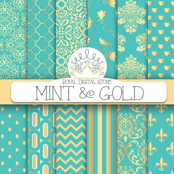 "Mint Gold Digital Paper: ""Mint & Gold"" with mint, gold background, patterns, gold, green damask, gold, green, mint geometric"