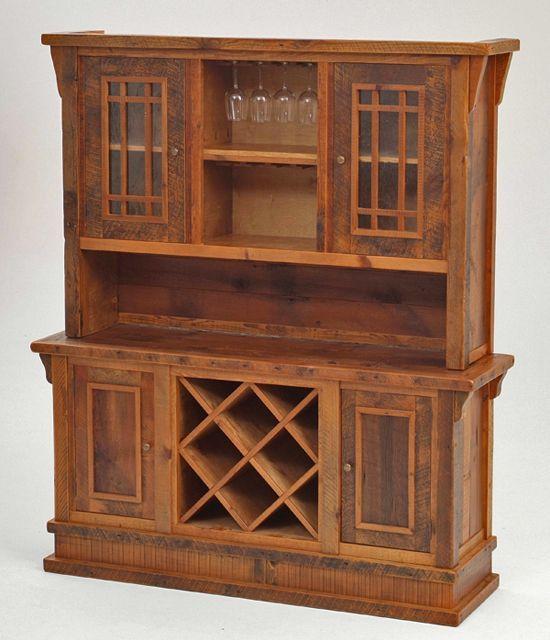 Barnwood Hutch And Wine Rack