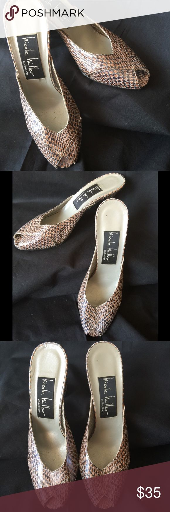 Leather Nicole Miller Mules Made in Italy all leather mules for Nicole Miller, worn couple times only inside, great snakeskin leather Nicole Miller Shoes Mules & Clogs