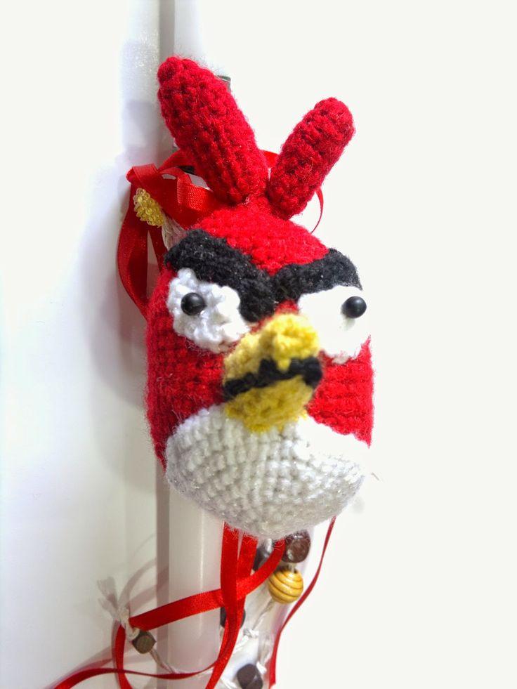 χειροποίητη λαμπάδα angry bird