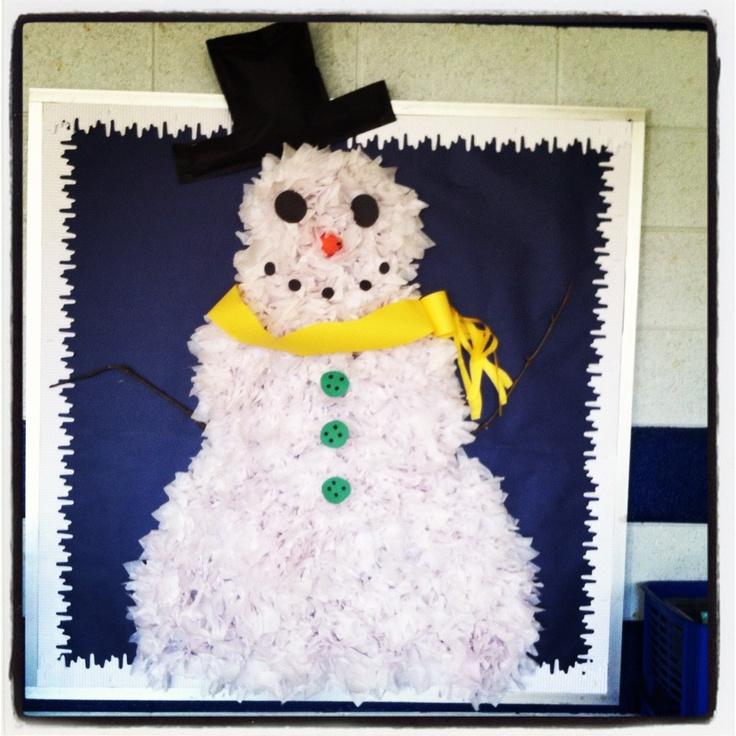 Kinder Garden: Tissue Paper Snowman Bulletin Board