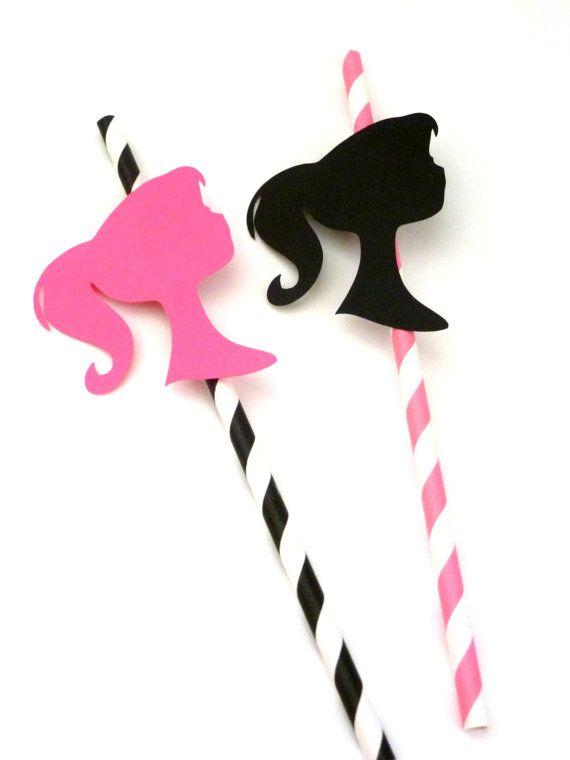 24 Barbie Silhouette die Cut Birthday Party Straw Props