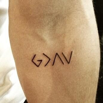 "This means ""God is greater than the ups and downs"". Love this."