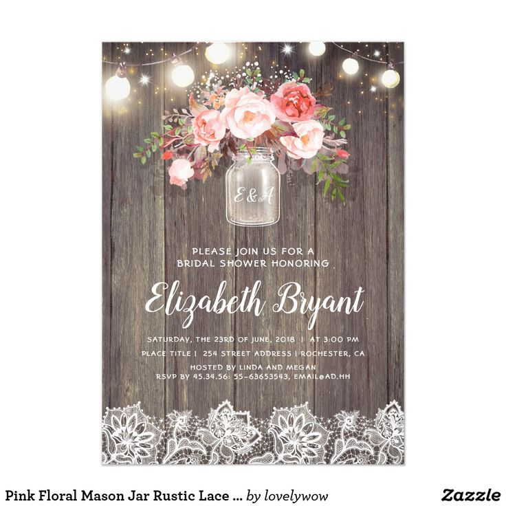 words to write in wedding shower card%0A Pink Floral Mason Jar Rustic Lace Bridal Shower Card