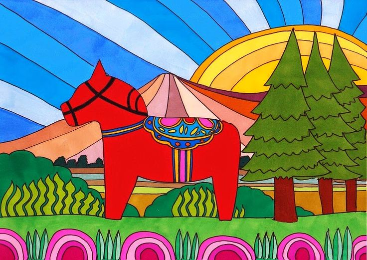 This A4 illustration, titled Summer in Dalecarlia, was inspired by the decorative wooden horses (Dalahäst) from the Dalecarlia (Dalarna) region of Sweden. It features a red Dala horse, set against an imagined Dalecarlian summer background. Materials used: promarkers and fine liner pen #dalahorse #dalahäst #illustration #drawing #art #artwork
