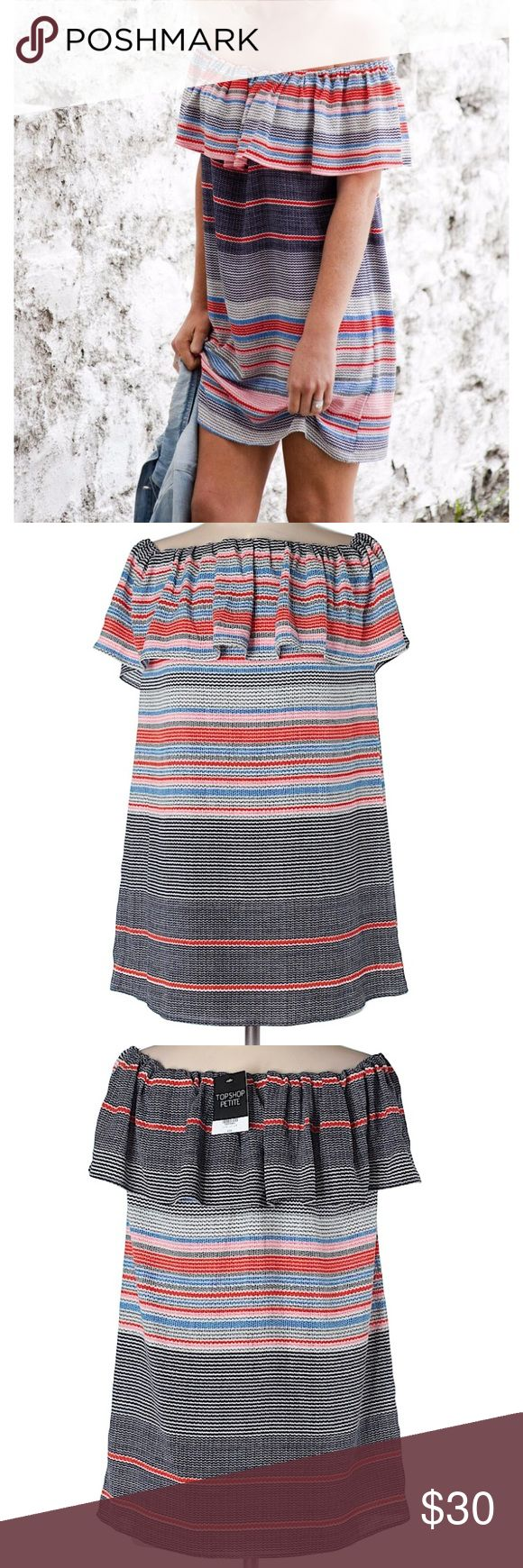 TOPSHOP petite striped bardot dress Bare shoulders and stripes make the perfect duo in this bardot dress. A woven block colour style with elasticated frill cold shoulders for a flattering fit. Style it with flat sandals for day or night. 97% Polyester, 3% Elastane. Machine wash. Multi color. SOLD OUT Topshop Dresses