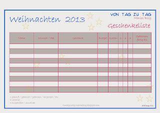 @vontagzutagmari Geschenkelistefür Weihnachten - damit behält man den Überblick. http://vontagzutag-mariesblog.blogspot.com